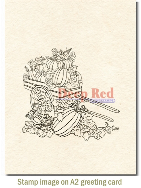 Pumpkin Harvest Rubber Cling Stamp by Deep Red Stamps shown on A2 card