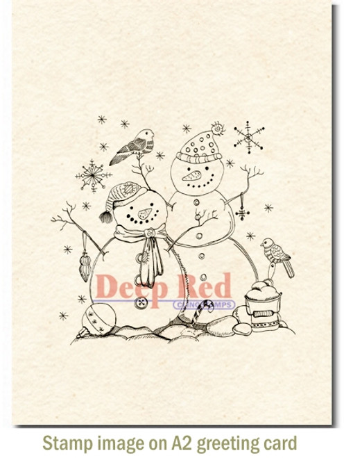 Snow Couple Rubber Cling Stamp by Deep Red Stamps shown on A2 card