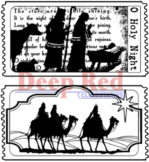 Tickets to the Nativity Rubber Cling Stamp by Deep Red Stamps
