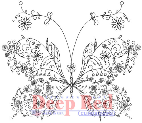 Floral Butterfly Rubber Cling Stamp by Deep Red Stamps
