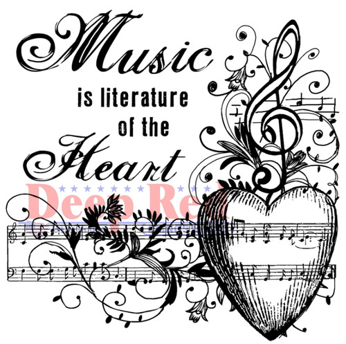 Music of the Heart Rubber Cling Stamp by Deep Red Stamps