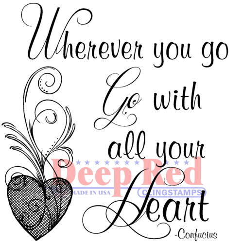 Wherever You Go Rubber Cling Stamp by Deep Red Stamps