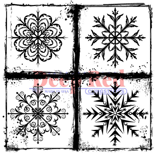Frosted Snowflakes Rubber Cling Stamp by Deep Red Stamps