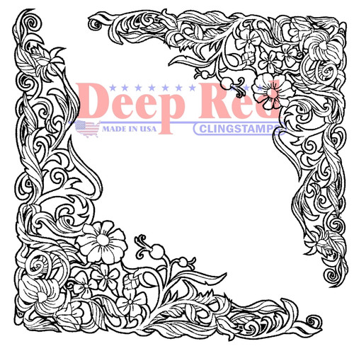 Floral Corners Rubber Cling Stamp by Deep Red Stamps