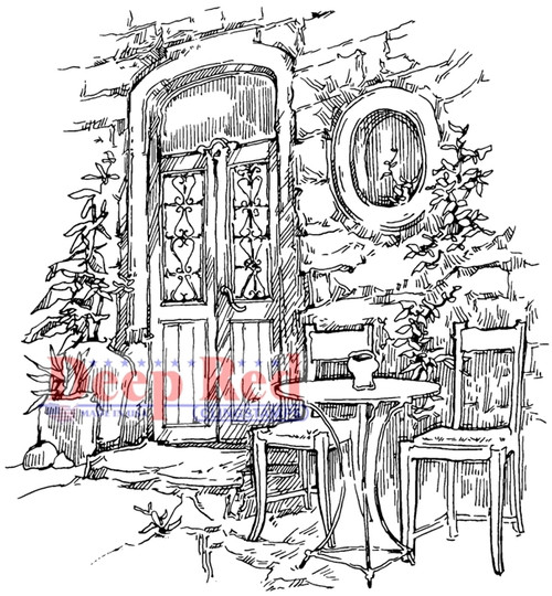 Dining Alfresco Rubber Cling Stamp by Deep Red Stamps