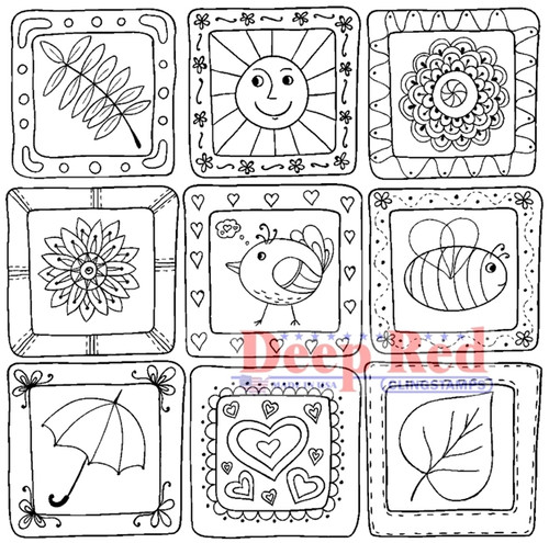 Color Me Spring Quilt Rubber Cling Stamp by Deep Red Stamps