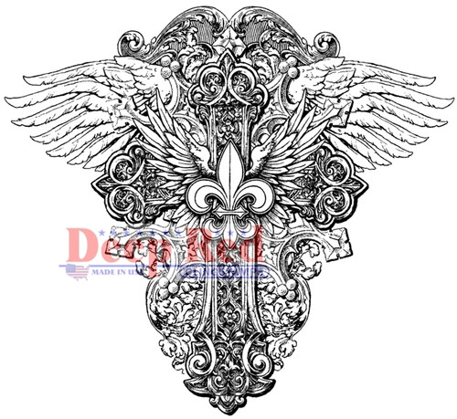 Winged Cross Rubber Cling Stamp by Deep Red Stamps