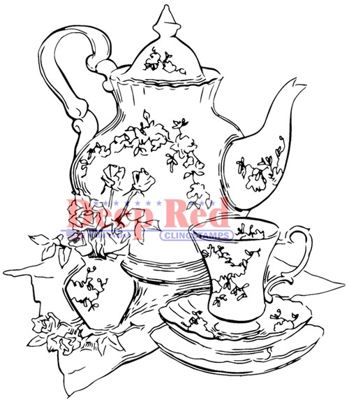 Tea Set Rubber Cling Stamp by Deep Red Stamps