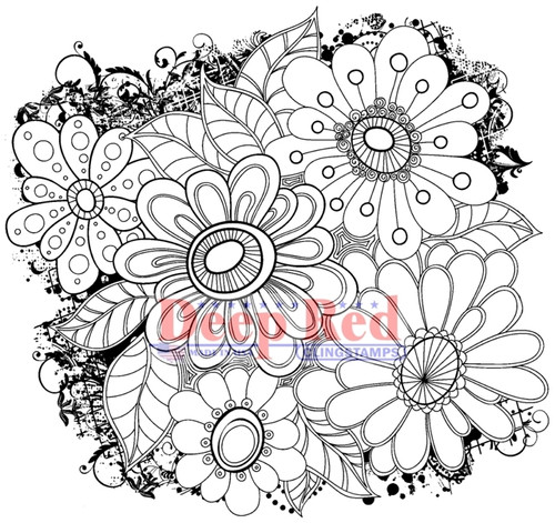 Color Me Daisies Rubber Cling Stamp by Deep Red Stamps
