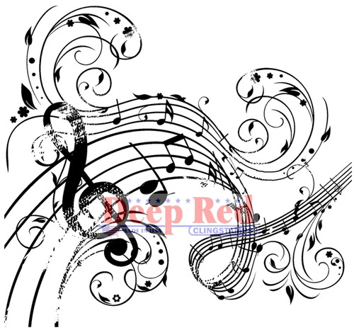 Music Swirl Rubber Cling Stamp by Deep Red Stamps