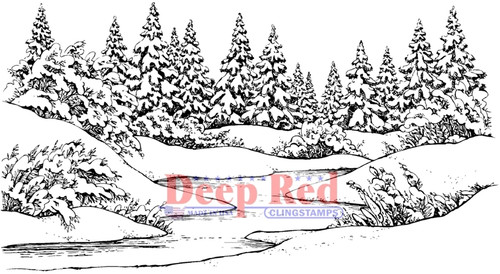 Winter Stream Rubber Cling Stamp by Deep Red Stamps