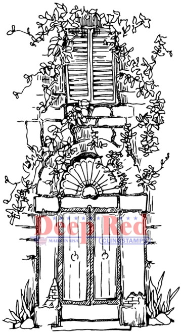 Vined Entry Rubber Cling Stamp by Deep Red Stamps