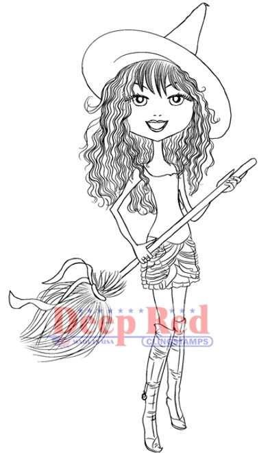 City Girl Witchy Rubber Cling Stamp by Deep Red Stamps