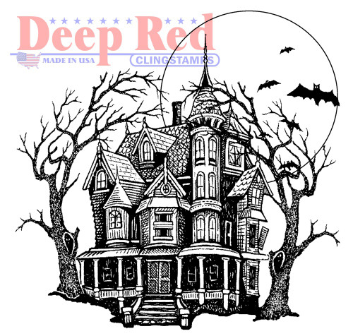 Haunted Mansion Rubber Cling Stamp by Deep Red Stamps