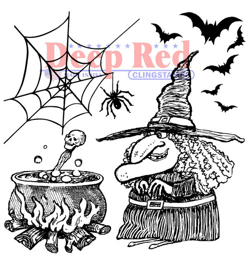 Witches Brew Rubber Cling Stamp by Deep Red Stamps