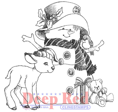 Woodland Snowman Rubber Cling Stamp by Deep Red Stamps