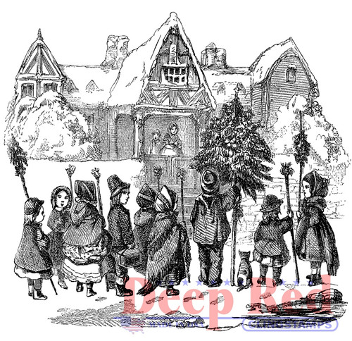 Christmas Carolers Rubber Cling Stamp by Deep Red Stamps