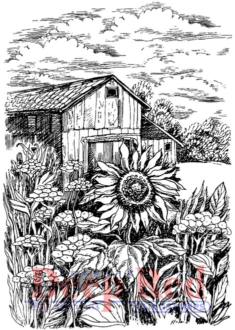 Harvest Sunflower Rubber Cling Stamp by Deep Red Stamps