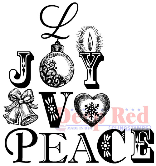 Joy Peace Love Rubber Cling Stamp by Deep Red Stamps
