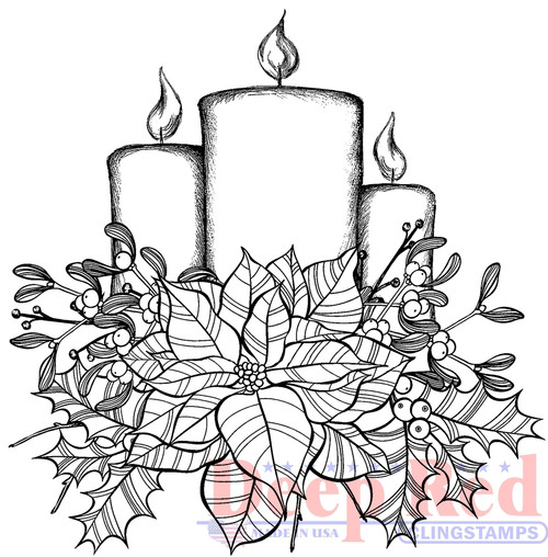 Poinsettia Candles Rubber Cling Stamp by Deep Red Stamps