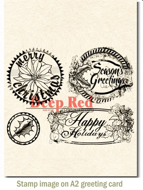Rubber Cling Stamp by Deep Red Stamps shown on A2 card.