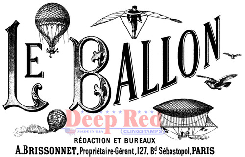 Le Ballon Rubber Cling Stamp by Deep Red Stamps