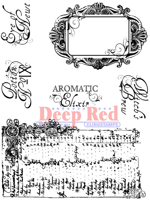 Potion Labels Rubber Cling Stamp by Deep Red Stamps
