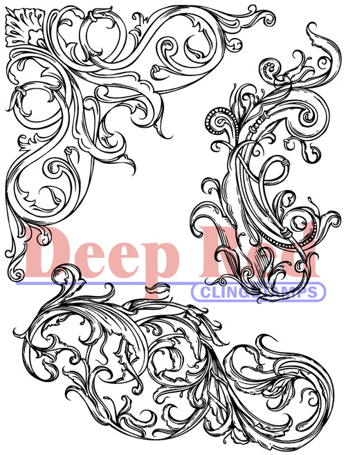 Fleur Scroll Rubber Cling Stamp by Deep Red Stamps