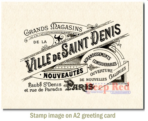 Ville de Saint Denis Rubber Cling Stamp by Deep Red Stamps shown on A2 card