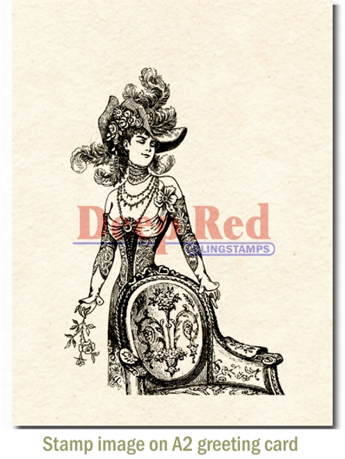 Derby Victorian Girl Cling Stamp by Deep Red Stamps shown on A2 card