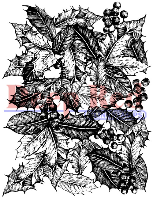Holly Background Cling Stamp by Deep Red Stamps