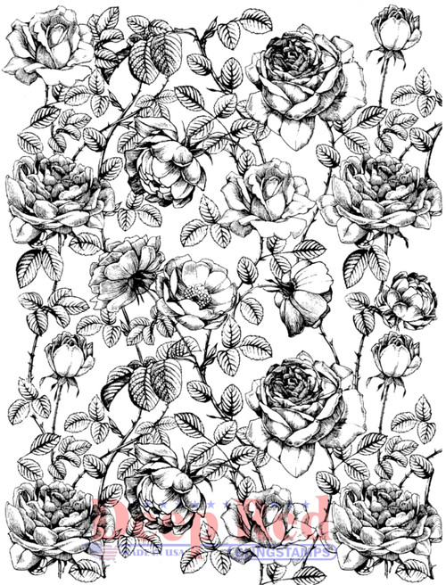 Roses Background Cling Stamp by Deep Red Stamps