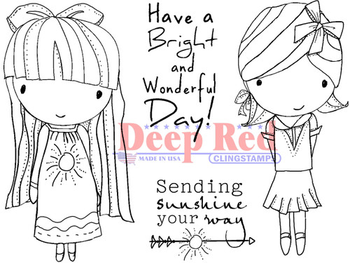 Little Cuties Sunshine Rubber Cling Stamp by Deep Red Stamps