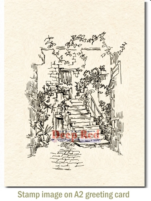 Courtyard Stairs Rubber Cling Stamp by Deep Red Stamps shown on A2 card