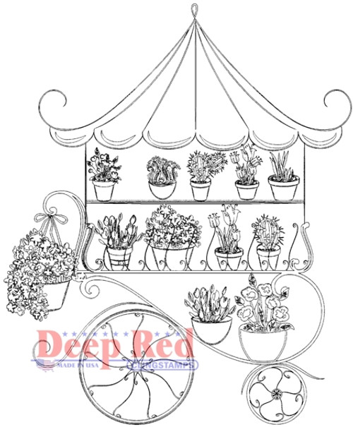 Flower Cart Rubber Cling Stamp by Deep Red Stamps
