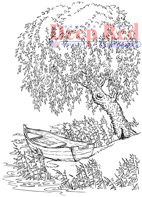 Weeping Willow Rubber Cling Stamp by Deep Red Stamps