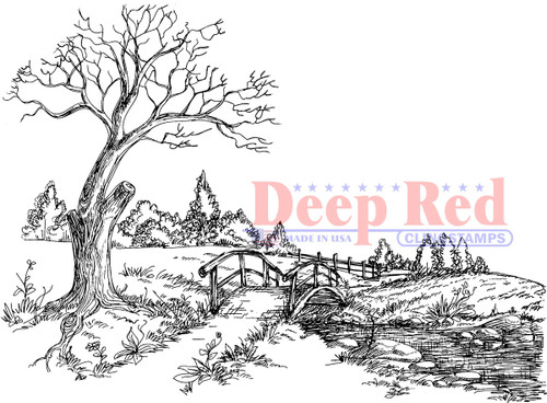 Autumn Brook Rubber Cling Stamp by Deep Red Stamps