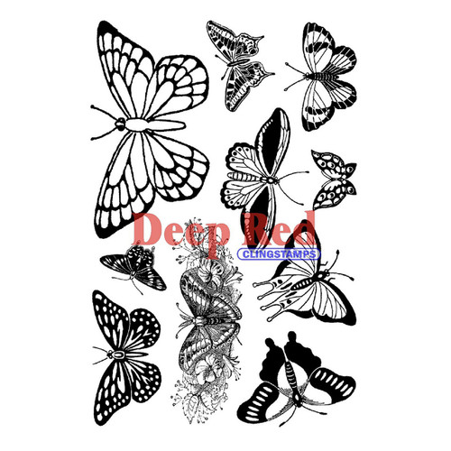 Butterflies Rubber Cling Stamp