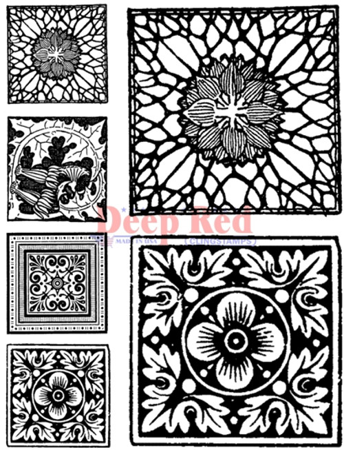 Summer Tiles Rubber Cling Stamp by Deep Red Stamps