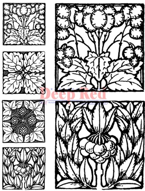 Autumn Tiles Rubber Cling Stamp by Deep Red Stamps