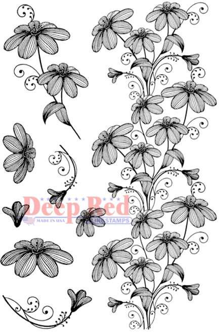 Woodcut Flowers Rubber Cling Stamp by Deep Red Stamps