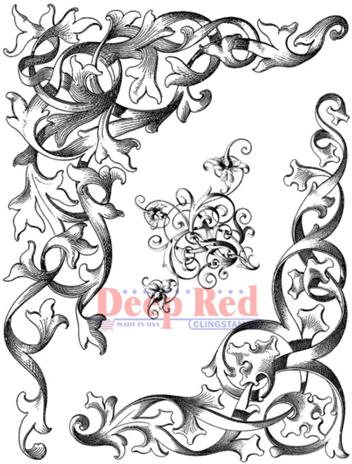 Wrought Iron Corners Rubber Cling Stamp by Deep Red Stamps