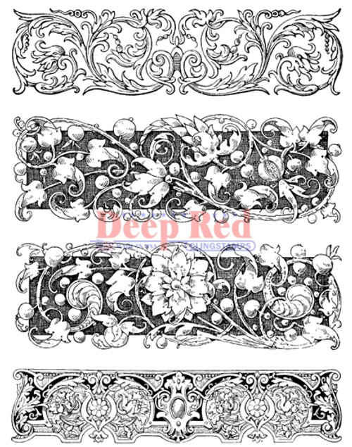 Carved Botanical Borders Rubber Cling Stamp by Deep Red Stamps