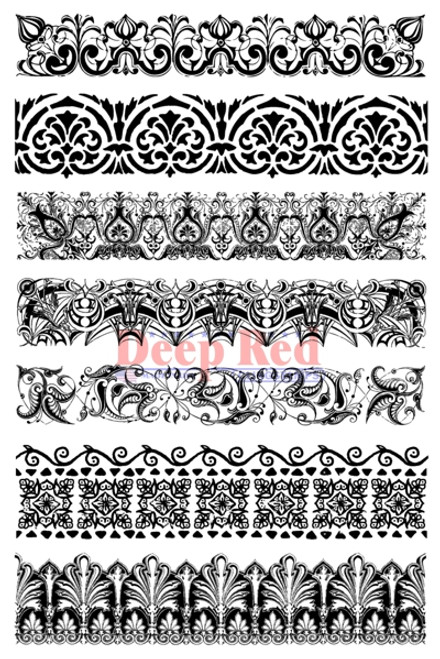 Vintage Borders Rubber Cling Stamp by Deep Red Stamps