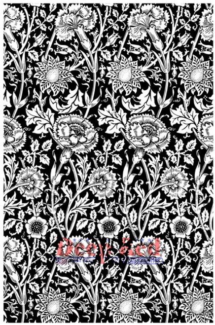 Carnations Background Rubber Cling Stamp by Deep Red Stamps