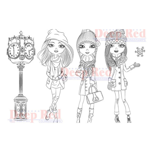 City Girls Winter Time Rubber Cling Stamp