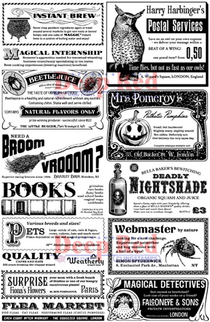 Spooky Classifieds Rubber Cling Stamp by Deep Red Stamps