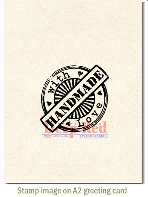 Deep Red Essentials Rubber Cling Stamp Handmade with Love Seal