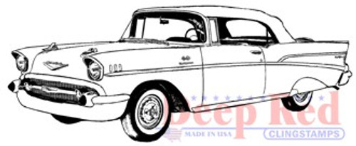 Deep Red Stamps Chevy Bel Air Rubber Cling Stamp