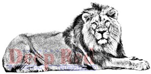 Deep Red Stamps Lion Rubber Cling Stamp